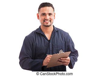 contratista, hacer, un, hogar, inspección