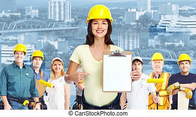contratista, mujer, y, grupo, de, industrial, workers.