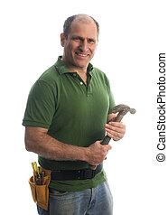 contratista, reparador, con, correa de la herramienta, y,...