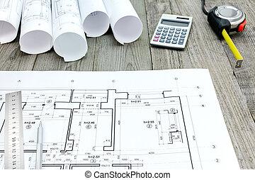 contratista, trabajo, herramientas, con, plano, en, gris, tablas de madera