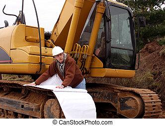 contratista, verificar, el, construcción, area.