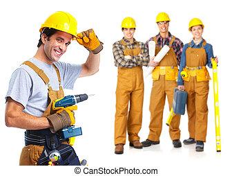 contratistas, trabajadores, gente