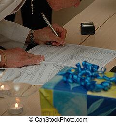 contrato assinando, casório