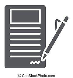 contrato assinando, glyph, ícone, papel, e, acordo, documento, sinal, vetorial, gráficos, um, sólido, padrão, ligado, um, branca, experiência.