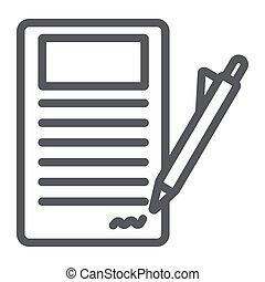 contrato assinando, linha, ícone, papel, e, acordo, documento, sinal, vetorial, gráficos, um, linear, padrão, ligado, um, branca, experiência.
