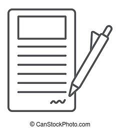 contrato assinando, linha magra, ícone, papel, e, acordo, documento, sinal, vetorial, gráficos, um, linear, padrão, ligado, um, branca, experiência.
