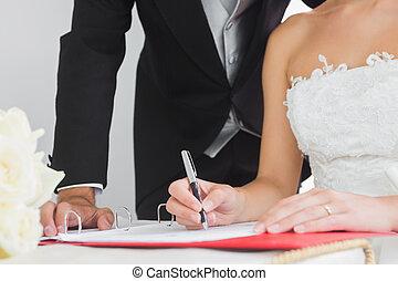 contrato, cierre, novia, boda, arriba, joven, firma