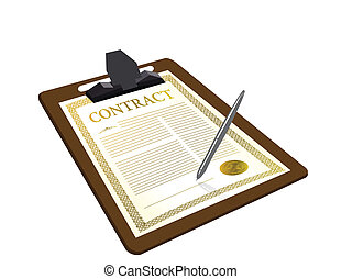 contrato, con, pluma, ilustración