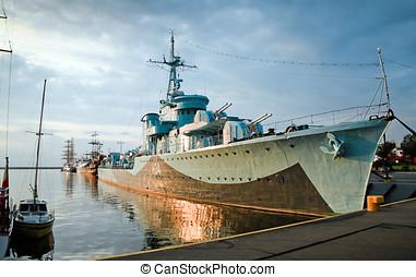 contratorpedeiro, navio, -, ii, mundo, guerra