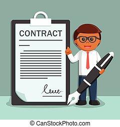 contratos, grande, caneta, papel, homem negócios