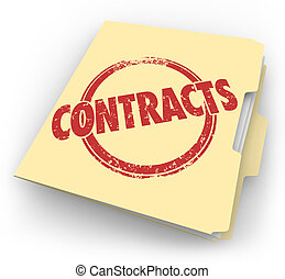 contratos, manila, archive carpeta, acuerdos, cerrado,...