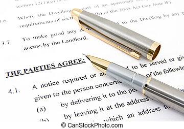 contratto affitto, accordo, e, penna