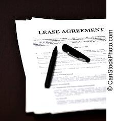 contratto affitto, penna, documento, accordo, scrivania