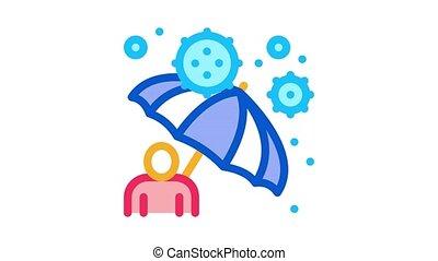 contre, animation, protection, parapluie, icône, virus