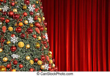 contre, arbre, noël, draperie, rouges