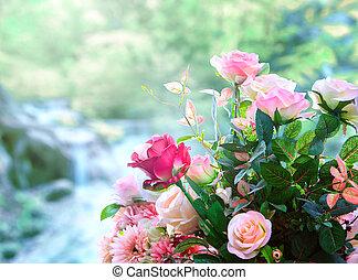 contre, artificiel, fleurs, roses, bouquet, arrangement, vert, barbouillage
