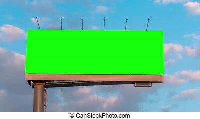contre, bleu, nuages, en mouvement, vide, vert, timelapse, blanc, -, panneau affichage, ciel