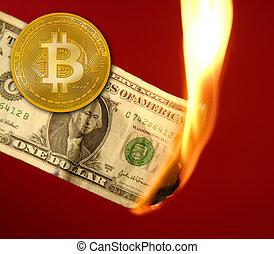 contre, brûlé, brûler, dollar, bitcoin, btc