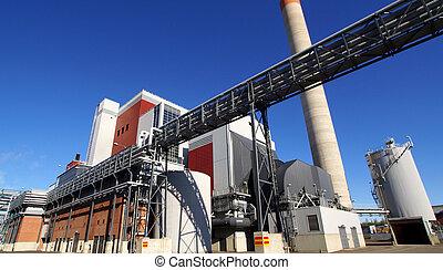 contre, ciel bleu, industriel, moderne, usine