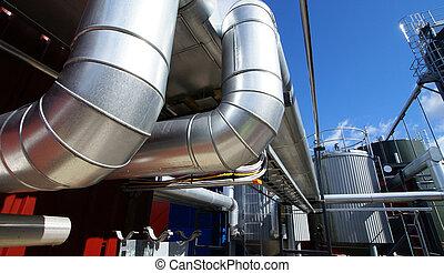 contre, ciel bleu, industriel, pipe-bridge, canalisations
