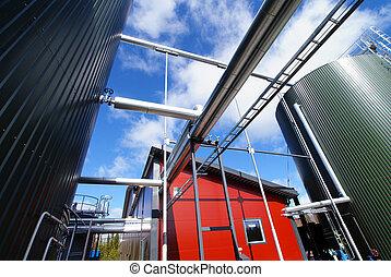 contre, ciel bleu, industriel, réservoirs, tuyauterie