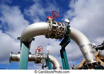 contre, ciel bleu, industriel, tuyauterie