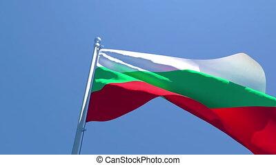 contre, ciel bleu, vent, drapeau, national, voler, bulgarie