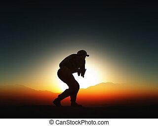 contre, ciel coucher soleil, soldat, 3d