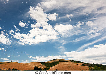 contre, ciel nuageux, italie, marche, le, campagne