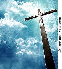 contre, ciel nuageux, sunrays, croix