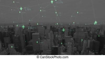 contre, cityscape, flèches, réseau, connexion