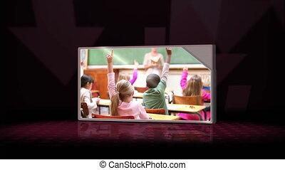 contre, classe, vidéos, trois