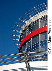 contre, construisant ciel, façade, moderne