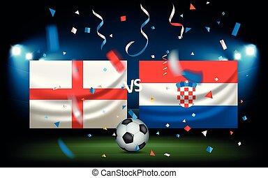 contre, croatie, angleterre, jour, match.