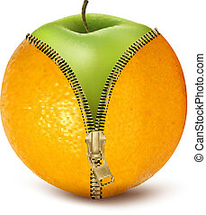 contre, défait, orange, fruit, cellulite., vecteur, régime, vert, apple.