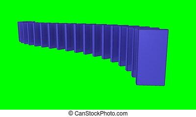 contre, dominos, bleu, dos, 3d, blanc