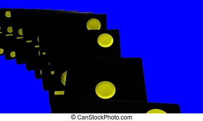contre, dominos, noir, mur bleu, 3d