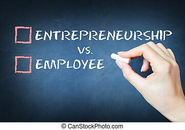 contre, employé, concept, entrepreneurship