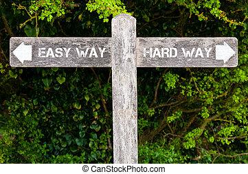 contre, facile, directionnel, dur, manière, signes