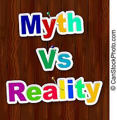 contre, faux, démontrer, mythe, -, illustration, réalité, vs, mots, authenticité, faits, 3d