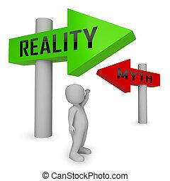 contre, faux, mythe, caractère, -, illustration, réalité, vs, démontrer, authenticité, faits, 3d