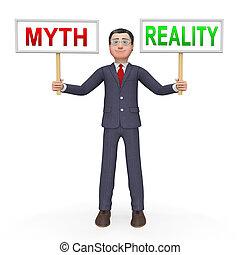contre, faux, mythe, -, illustration, réalité, vs, démontrer, authenticité, faits, homme affaires, 3d