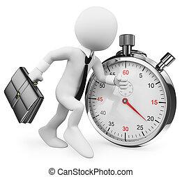 contre, fonctionnement, business, homme affaires, time., gens., meta, 3d, blanc