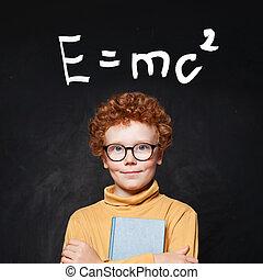 contre, heureux, garçon, formule, jeune, science, tableau, génie