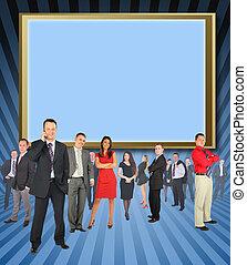 contre, hommes affaires, différent, collage, debout, écran
