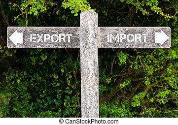 contre, importation, directionnel, exportation, signes