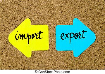 contre, importation, message, exportation