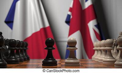 contre, jeu échecs, 3d, drapeaux, grand, rendre, britain., france