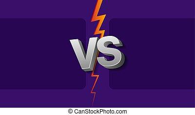 contre, lettres, fond, vs, illustration, vecteur, ultra-violet, lightning.
