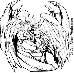 contre, ligne, diable, art, ange